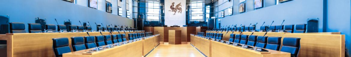 Image de la salle des séances plénières du Parlement de Wallonie
